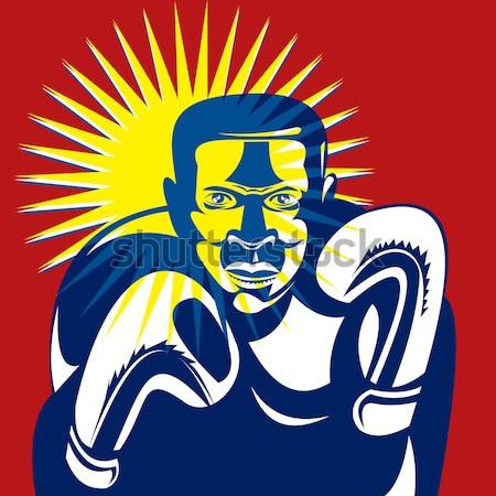 Homme masque à gaz illustration style rétro Photo stock © patrimonio
