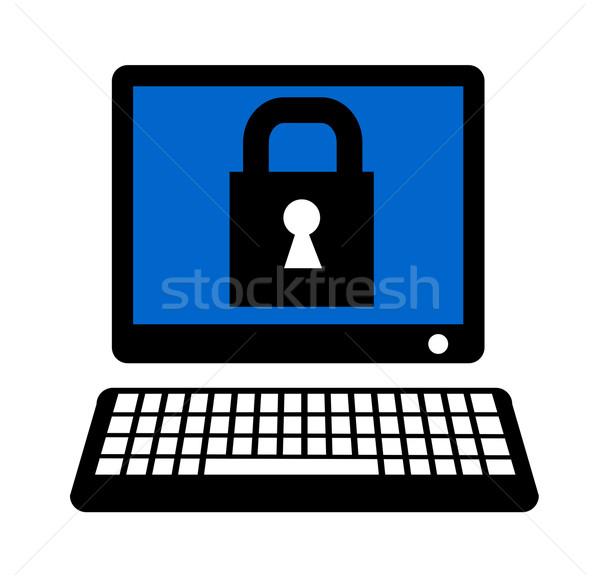 Komputera kłódki ilustracja ekranu w stylu retro Zdjęcia stock © patrimonio