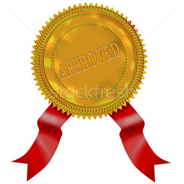 Arany fóka vörös szalag elismert illusztráció Stock fotó © patrimonio