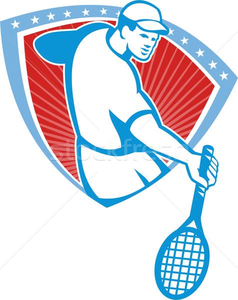 Tennis Player Racquet Shield Retro Stock photo © patrimonio