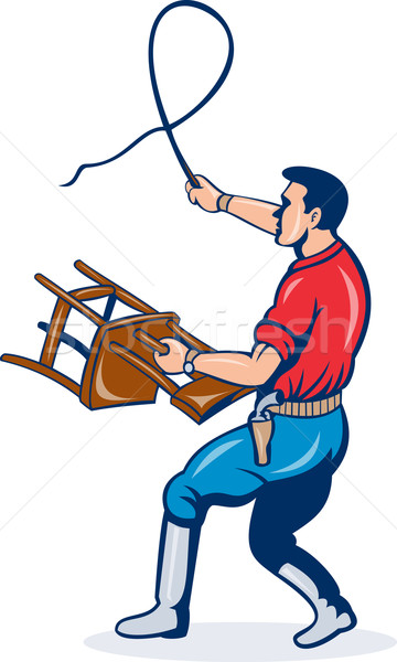 Stock photo: lion tamer with whip and holding a chair