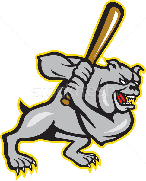Bulldog Dog Baseball Hitter Batting Cartoon Stock photo © patrimonio