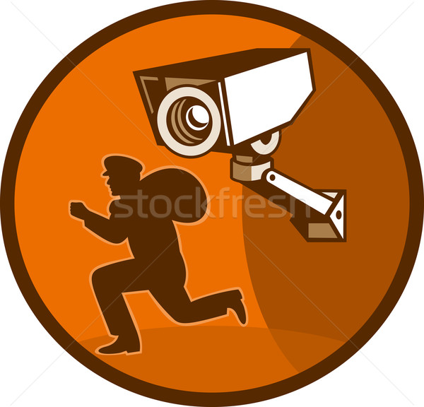 Security surveillance camera burglar thief running Stock photo © patrimonio