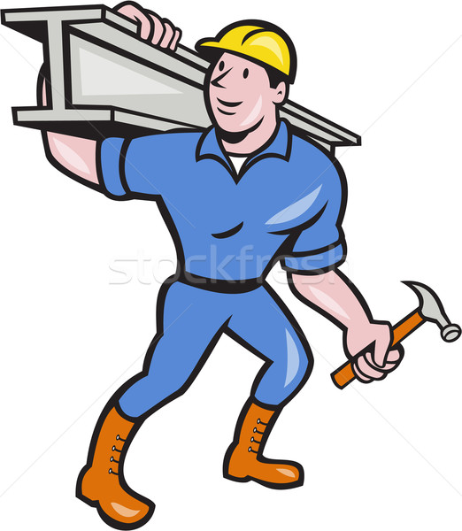 Construction Steel Worker Carry I-Beam Cartoon Stock photo © patrimonio