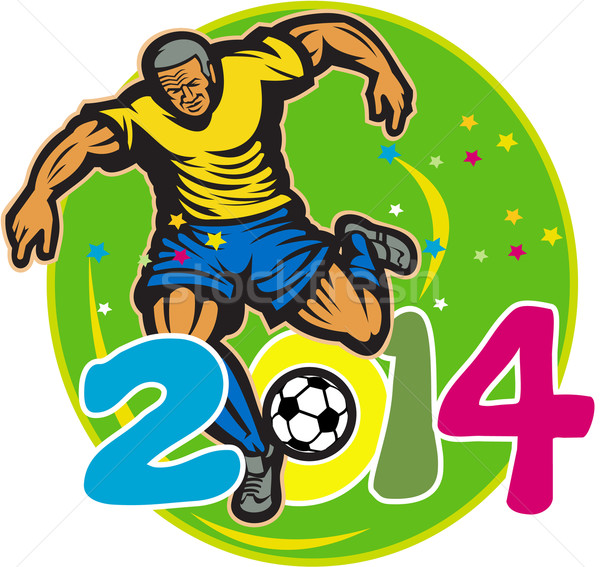 Brazil 2014 Football Player Kick Retro Stock photo © patrimonio