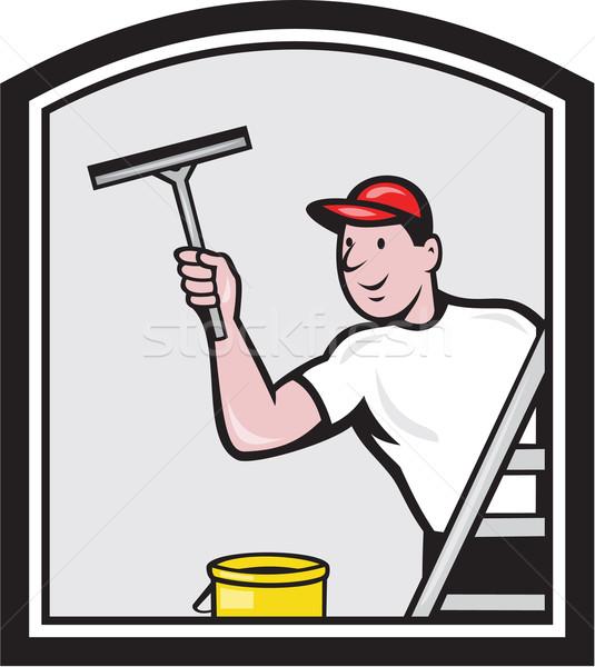 Janela máquina de lavar limpador desenho animado ilustração limpador de janelas Foto stock © patrimonio