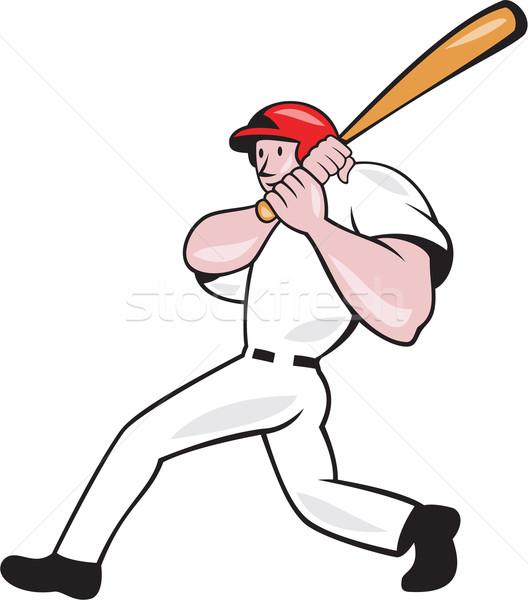 Baseball Player Batting Look Side Isolated Cartoon Stock photo © patrimonio