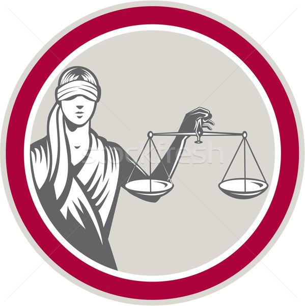 Dame geblinddoekt schalen justitie cirkel Stockfoto © patrimonio