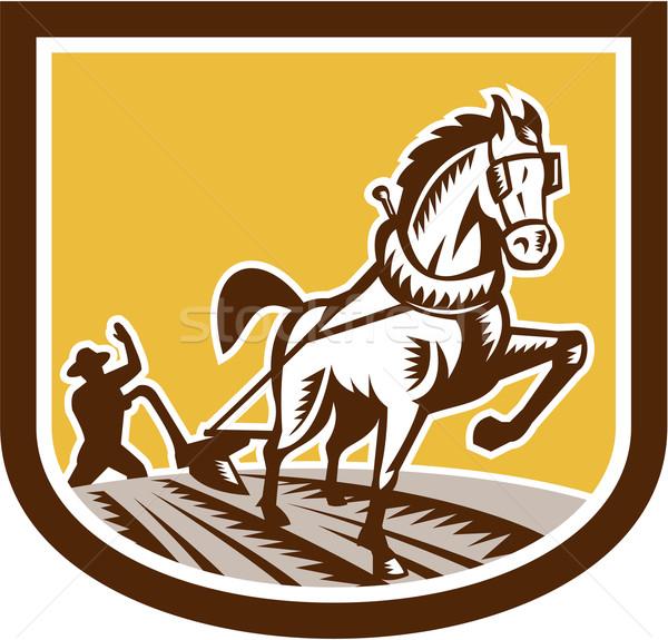 Agricoltore cavallo farm cresta retro illustrazione Foto d'archivio © patrimonio