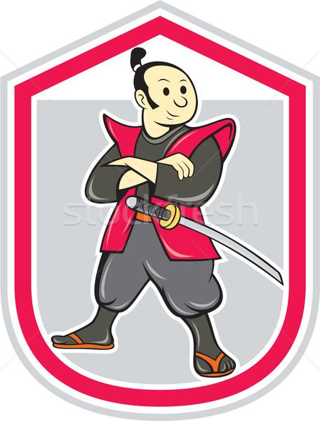 Samurai guerreiro brasão dobrado escudo desenho animado Foto stock © patrimonio