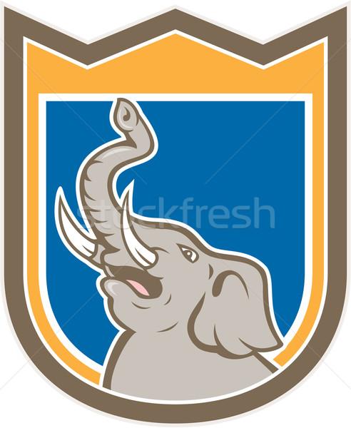 Elephant Head Roaring Trunk Up Shield Cartoon Stock photo © patrimonio