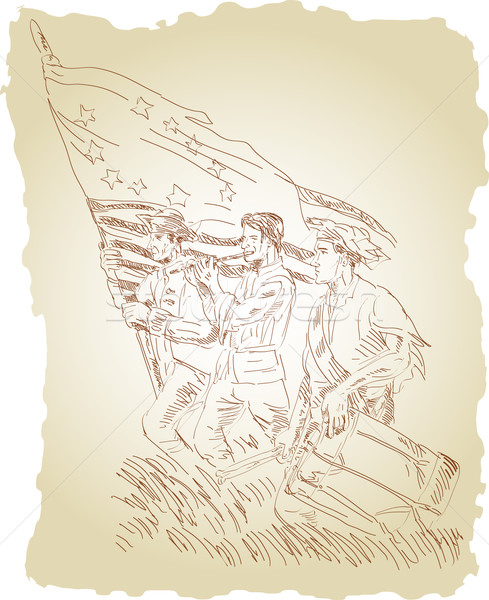 revolutionary soldiers marching Betsy Ross flag Stock photo © patrimonio