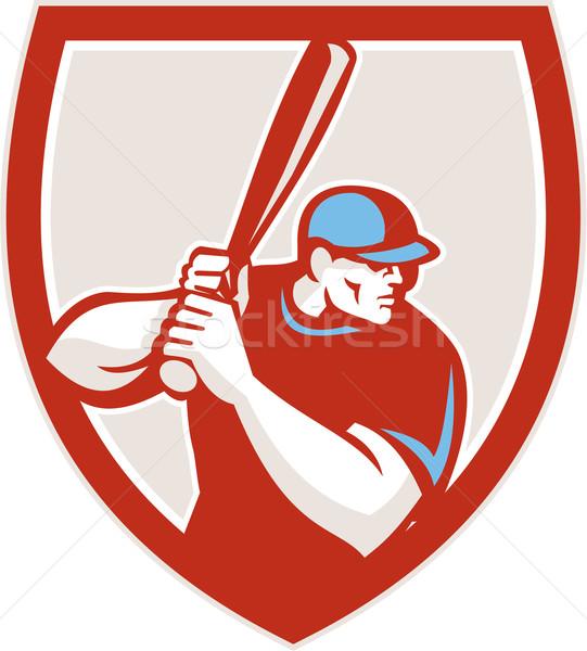 Jogador de beisebol escudo retro ilustração americano olhando Foto stock © patrimonio