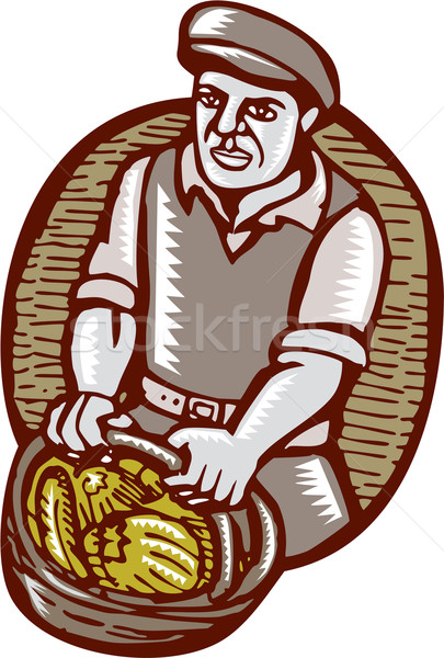 Organic Farmer Harvest Basket Woodcut Linocut Stock photo © patrimonio