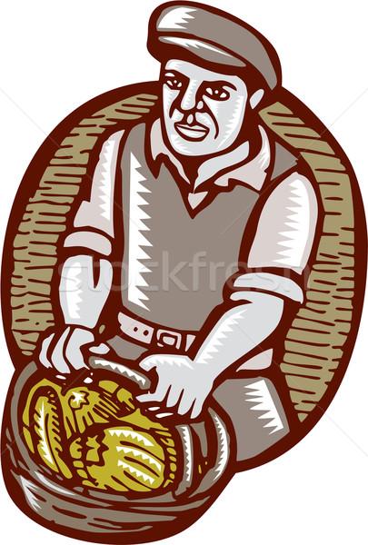 Organic Farmer Harvest Basket Woodcut Linocut Stock photo © patrimonio