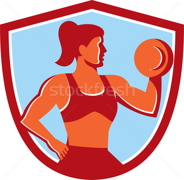 Female Lifting Dumbbell Shield Retro Stock photo © patrimonio