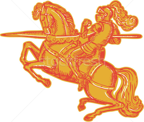 Knight Full Armor Horseback Lance Etching Stock photo © patrimonio
