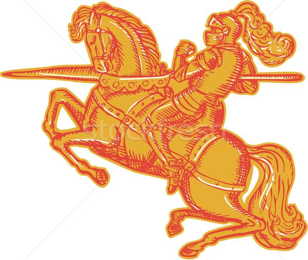 Cavaliere completo armatura cavallo Foto d'archivio © patrimonio