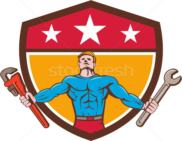 Superhero мастер на все руки гаечный ключ ключа щит Cartoon Сток-фото © patrimonio
