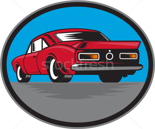 American Vintage Muscle Car Rear Woodcut Stock photo © patrimonio