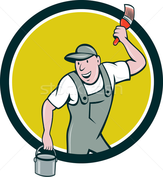 Huis schilder penseel verfemmer cirkel cartoon Stockfoto © patrimonio
