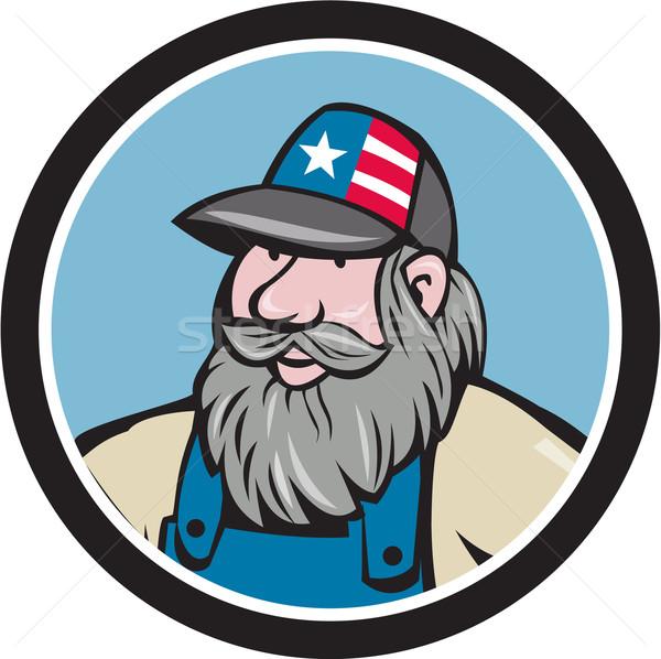 Hillbilly Man Beard Circle Cartoon Stock photo © patrimonio