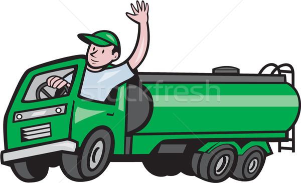 6 Wheeler Tanker Truck Driver Waving Cartoon Stock photo © patrimonio