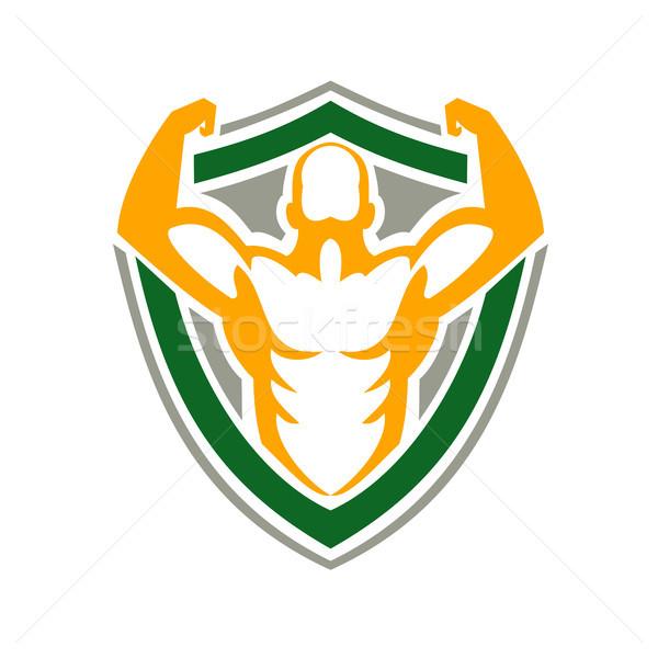Strongman Flexing Muscles Crest Icon Stock photo © patrimonio
