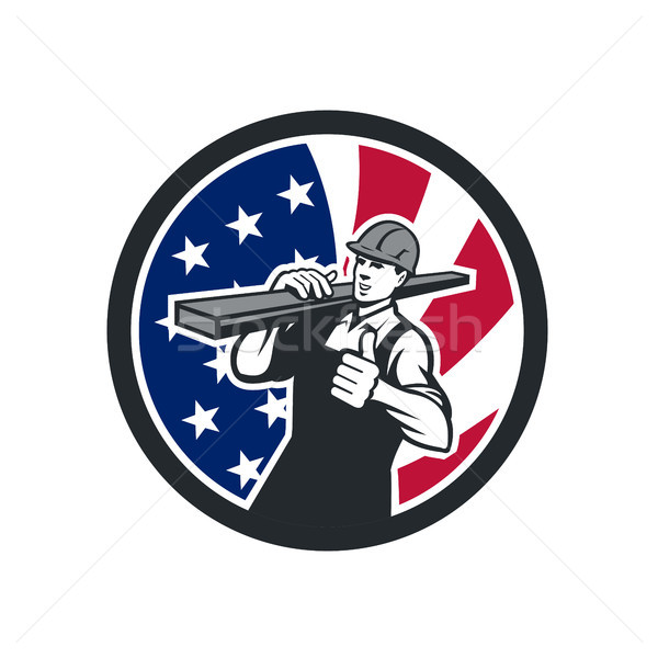 American Lumberyard Worker USA Flag Icon Stock photo © patrimonio