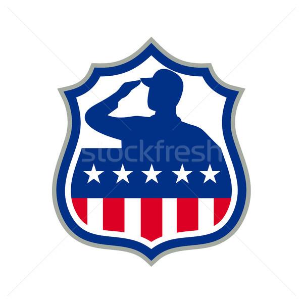 American Soldier Saluting USA Flag Crest Icon Stock photo © patrimonio