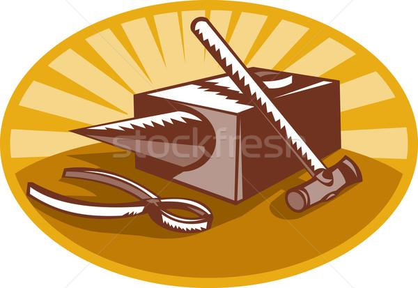 Kalapács üllő retró stílus illusztráció stílus szett Stock fotó © patrimonio
