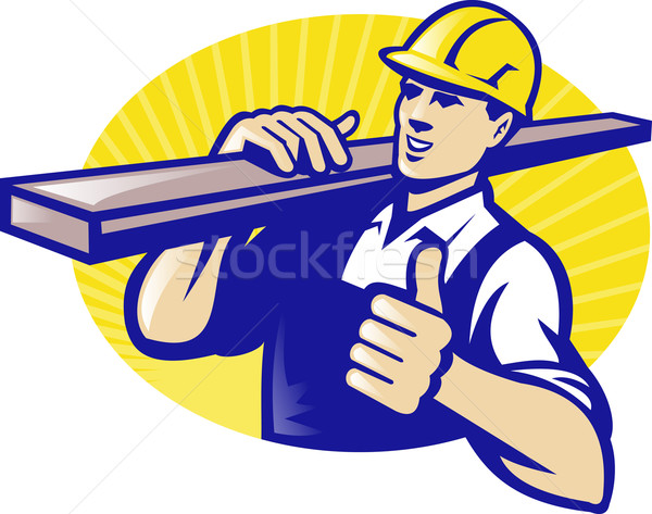 Carpenter Builder Worker Thumbs Up Stock photo © patrimonio