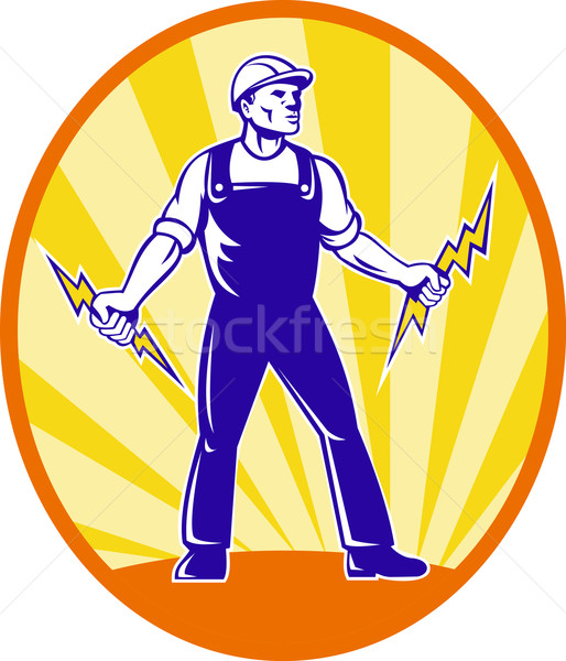 Electrician Repairman Holding Lightning Bolt Stock photo © patrimonio