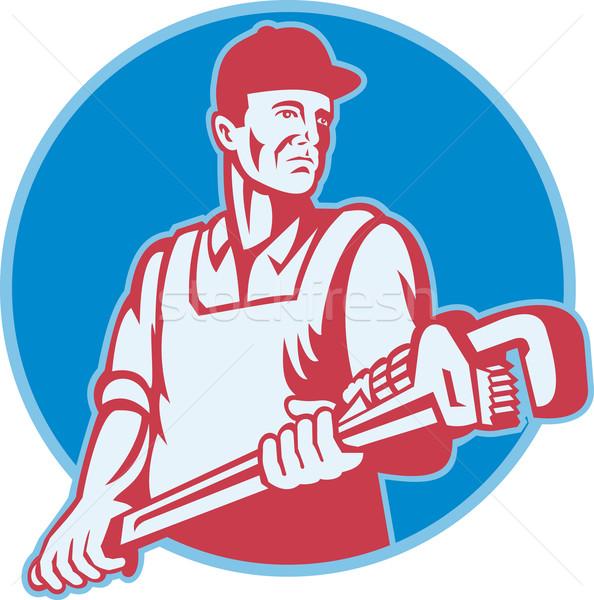 Fontanero trabajador mono llave retro ilustración Foto stock © patrimonio