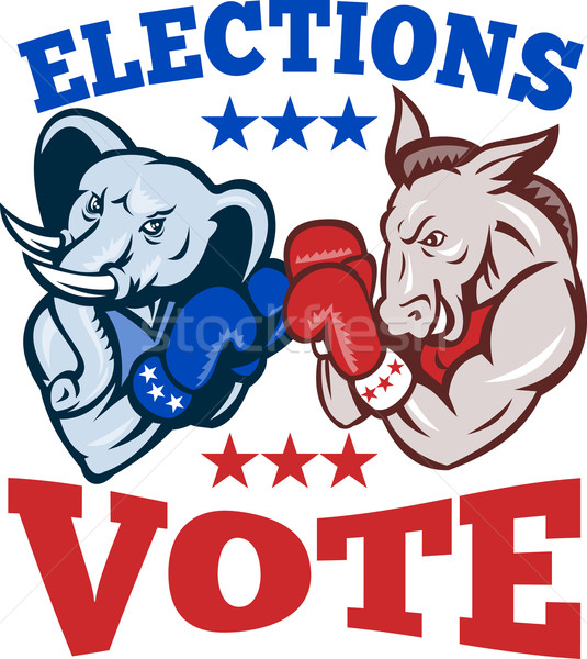 Demokrat eşek cumhuriyetçi fil maskot seçim Stok fotoğraf © patrimonio