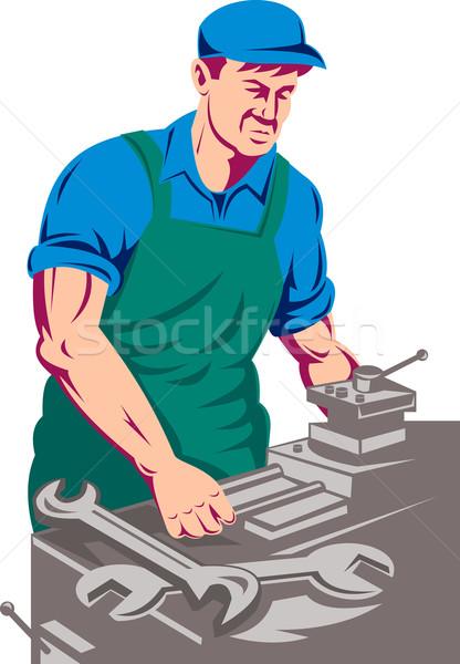 turner worker at work on lathe Stock photo © patrimonio