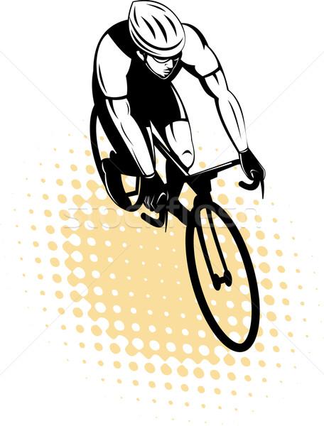 male cyclist riding racing bicycle Stock photo © patrimonio