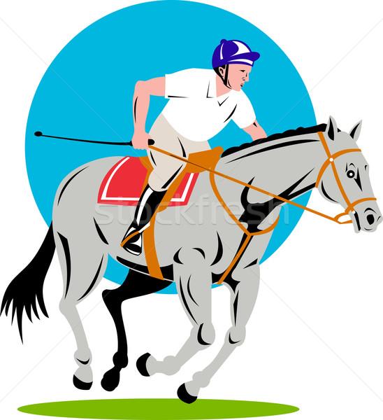 Lovas előadás ugrik retro illusztráció ló Stock fotó © patrimonio