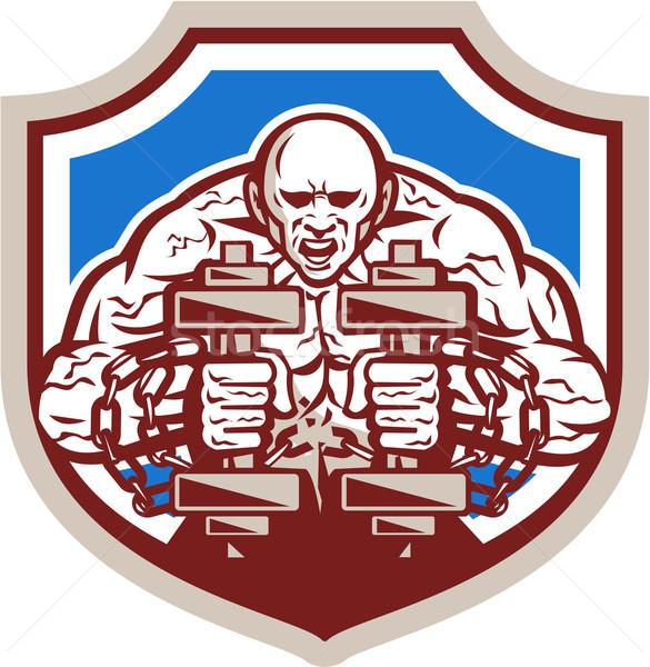 Strongman Lifting Dumbbells Shield Retro Stock photo © patrimonio