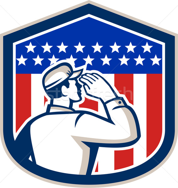 American Soldier Saluting Flag Shield Stock photo © patrimonio