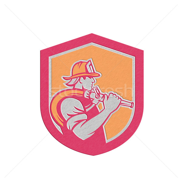 Metallic Fireman Firefighter Holding Fire Hose Shoulder Shield Stock photo © patrimonio
