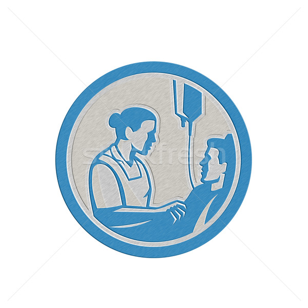 Fémes nővér beteg beteg kör retro Stock fotó © patrimonio