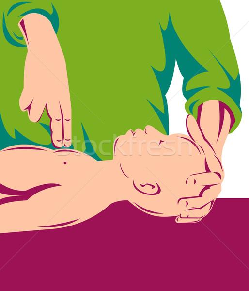 Előad mesterséges lélegeztetés csecsemő retró stílus illusztráció személy Stock fotó © patrimonio