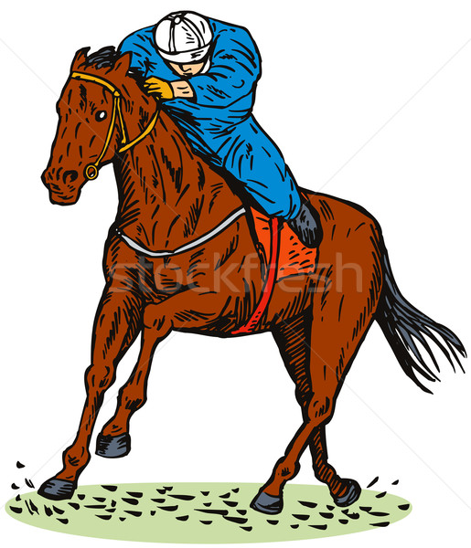 Foto stock: Carreras · de · caballos · vista · lateral · ilustración · aislado · blanco · estilo · retro