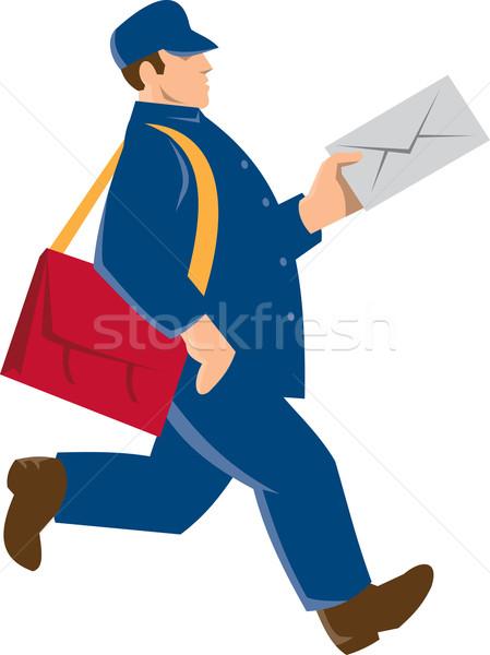 Postás munkás futár retro illusztráció posta Stock fotó © patrimonio