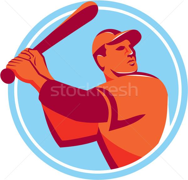 Baseball Batter Batting Bat Circle Retro Stock photo © patrimonio
