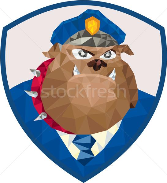 Bulldog rendőr pajzs alacsony poligon stílus Stock fotó © patrimonio