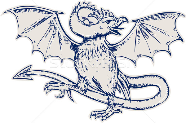 Basilisk Crowing Etching Stock photo © patrimonio