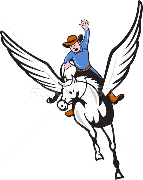 Cowboy Riding Pegasus Flying Horse Cartoon Stock photo © patrimonio