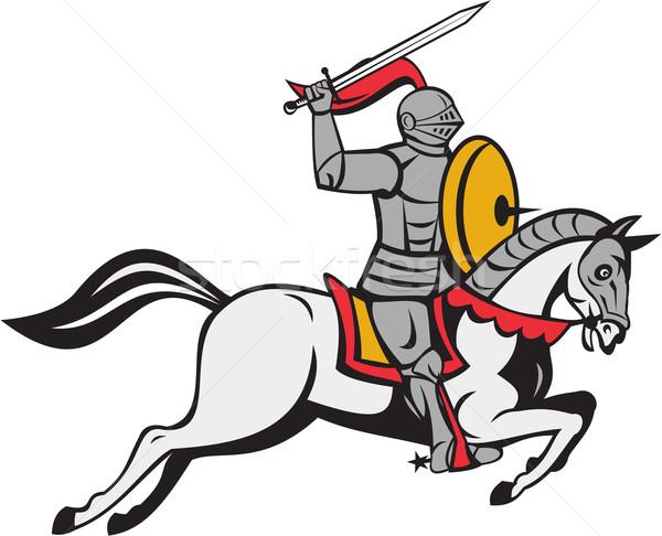 Knight меч щит конь Cartoon стиль Сток-фото © patrimonio
